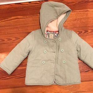 Baby Boden pea coat corduroy green 2-3y
